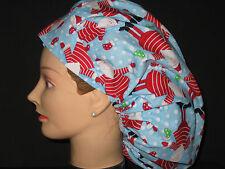Surgical Scrub Hats/Caps Christmas Santas w/ snowballs & stockings on light blue