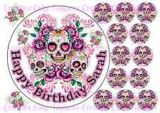 "EDIBLE PINK SUGAR SKULLS 7.5"" CAKE TOPPER 12 CUPCAKE TOPPERS GOTHIC TATTOO GOTH"