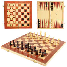 Chess Draughts Backgammon 3 in 1 Wooden Board Games Set Compendium Games 25x25cm