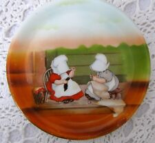 Antique Royal Bayreuth Sunbonnet Babies Wednesday Mending Circa 1905 Plate -Rare