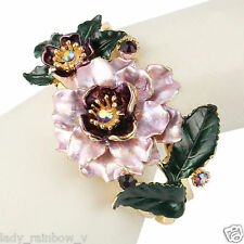 Luxury Flower Bracelet Bangle Rhinestone Crystal Purple w Green Enamel Art Deco