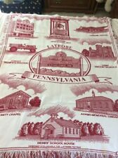 LATROBE PA ROTARY RED & CREAM THROW BLANKET;46x 62?;PALMER'S TRACTOR,ST. VINCENT