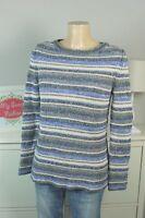 MASSIMO DUTTI Pullover Strickpullover Blau Offwhite Streifen Gr. XS 34 (DD143)