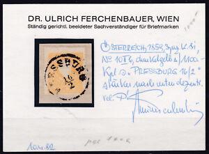 Ö 1859 ANK 10 II b Vollstempel Pressburg GEPRÜFT auf Briefstück € 150,--