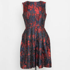 NWT $159.95 Coldwater Creek Retro Navy Red Floral Print Dress Size 8