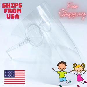 KIDS School Framed Clear Face Shields Mask Glasses Protection Plastic Eye Shield
