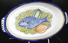 FISH DECORATED OVAL CASSEROLE**HAND PAINTED**MADE IN PORTUGAL