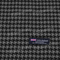 Men's 100% CASHMERE Scarf Houndstooth Black/Gray MADE IN SCOTLAND