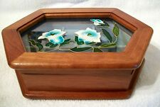 MELE wood Jewelry Box Hinged Glass Lid White Blue Tulip Floral 1970's Vtg # 16