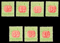 Australia 1938 POSTAGE DUE SET MINT #J64-70 fresh. HR CV$257.00
