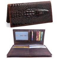 Men's Alligator Embossed Handcrafted Full Grain Leather Bifold Clutch Wallet