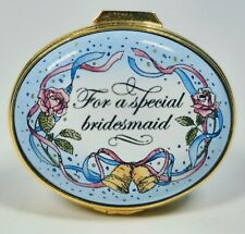 """Halcyon Days English Enamels """"For A Special Bridesmaid"""" Trinket Box"""