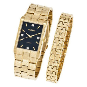 Elgin Men's Diamonds Gold Tone Stainless Steel Watch & Bracelet Set FG9031ST
