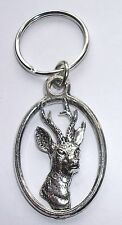 ROE DEER PEWTER KEY RING, ideal for Keys, Bags, Collectables. British Made (KA9)