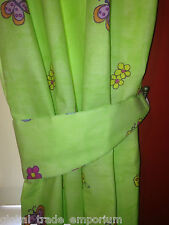 """Girls Lime Green Fairytale Princess Butterfly Bedroom Curtains 168x137cm 66x54"""""""