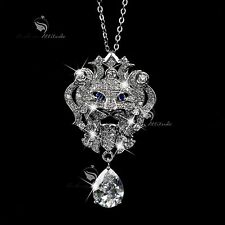 18k white gold gf made with SWAROVSKI crystal lion pendant sapphire necklace