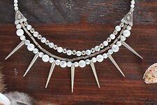 Stunning Handmade 3 Layer White Howlite Bead & Silver Spike Charm Necklace