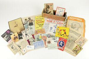 Lot of 1920s-40s Boxing Ephemera Magazines Pamphlets Business Cards