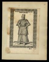 Turkish woman nobility 1570 rare de Nicolay engraved ethnic Middle East print