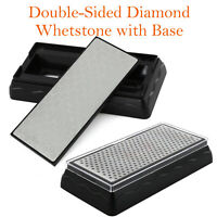 Double Sided Diamond Sharpening Stones #400/#600/#1000/#1200 Whetstone with Base
