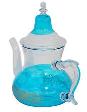 Tea Kettle Coffee Pot Glass Moroccan Handmade Heat Resistant Leaf Strainer Aqua