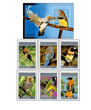 GUI9606ZB Birds block and 7 stamps MNH GUINE 1996