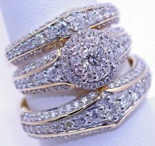 Men's & Women's Diamond Trio Sets Wedding Band Engagement Rings Yellow Gold Over