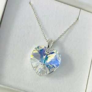 925 Silver 18mm AB Heart Necklace Pendant Gift Made With Swarovski® Crystals