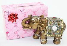 "Feng Shui 6"" Elegant Elephant Trunk Statue Lucky Figurine + Gift Box Home Decor"