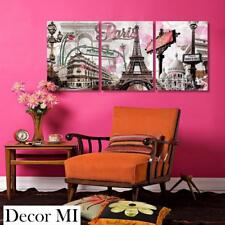 Wall Art Canvas Paris Eiffel Tower Pink 3 Pc Home Office Decor Gift Her NEW