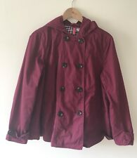 H&M Womens Coat, Hooded, Burgundy / Mulberry, Check Lining, Size 16 EUR 42