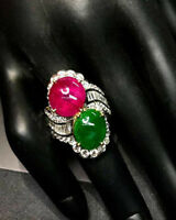 1.75ct NATURAL DIAMOND 14K SOLID YELLOW GOLD EMERALD RUBY GEMSTONE COCKTAIL RING