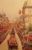 Antique Watercolour of Queen Victoria's Jubilee in 1887 by Frances E Nesbitt.