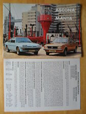 OPEL ASCONA & MANTA orig 1976 UK Mkt Sales Brochure + Specs Leaflet