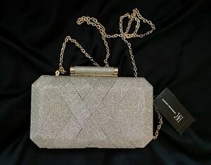 INC Sparkly Silver Gold Clutch Purse Chain Homecoming Formal Prom Wedding NWT$80