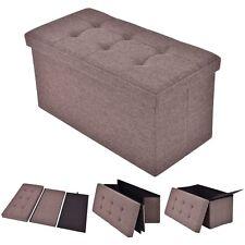 Folding Rect Ottoman Bench Storage Stool Box Footrest Furniture Decor Brown New