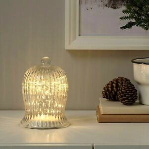 """IKEA STRALA LED Table Decoration Bell Shaped Battery Operated Large Clear 7"""" New"""