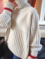 Women Casual Long Sleeve Solid Color Casual Outdoor Pullover Turtleneck Sweater