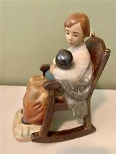 Lladro Girl In Rocking Chair Rocking Baby Child #2089 - Gres Finish - Minty!