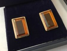 Vintage HM Hallmarked 9ct 9ct Gold Simple Square Oblong Honey Amber Earrings
