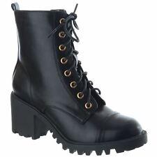 Para mujeres Bloque Talón Mediados Zip con Cordones Grueso De Combate Militares Tobillo Botas Zapatos Talla