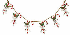51in. Long Christmas Metal Candy Cane on Rope Garland Banner Decoration