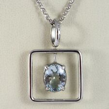 NECKLACE WHITE GOLD 750 - 18K AQUAMARINE CUT OVAL CT 1.80, CHAIN ROLO'