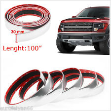 DIY 100'' Chrome Car SUV Door Bumper Edge Guard Anti Scratch Protector Strip 3M