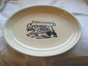 HOLT HOWARD Mid Century Tan Platter Plate Elephant Advertising Banner! Oval
