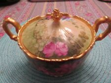 Antique JP Jean Pouyat Limoges Covered Bowl Hand Painted Pink Roses Heavy Gold