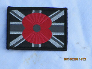 Union Jack,black mit rotem Poppy, Unit ID Morale Patch,Klett ,Abzeichen,55x40mm