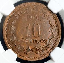 1915, Mexico, Guerrero, Atlixtac. Copper 10 Centavos Coin. Top Pop! NGC MS64 BN!