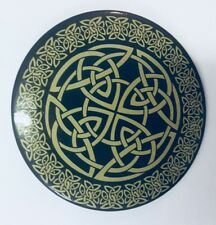 NEW HAND TRAVEL MIRROR SMALL CELTIC PATTERN BLACK AND GOLD PACKAGED