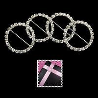 Round Diamante Silver Embellishments Rhinestone Ribbon Slider Buckles DIY Crafts